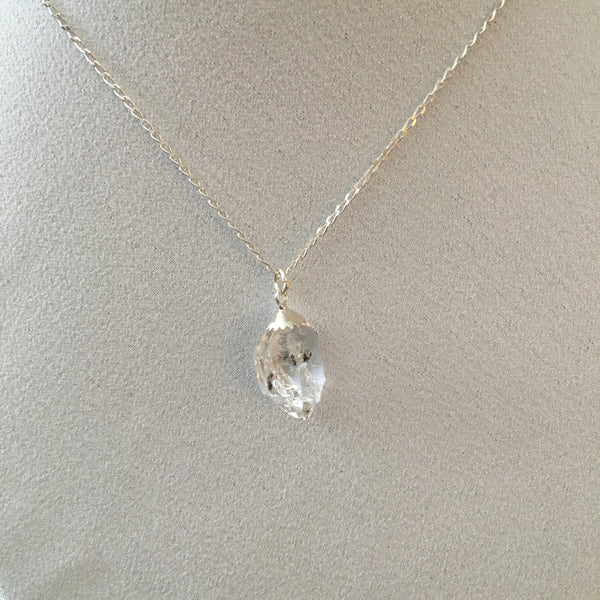 Herkimer Diamond 8.85 carat Sterling Silver Curb Chain Necklace