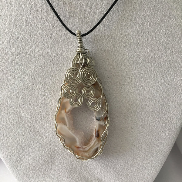Brown & White Oce Geode Slice, Braided Wire Wrapped Pendent, Black Cord Necklace