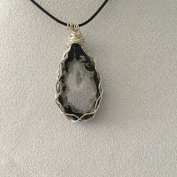 Gray, Black & White Oce Geode Slice, Braided Wire Wrapped Pendent, Black Cord Necklace