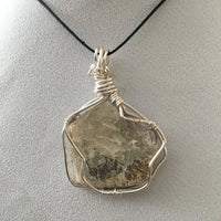 Dendrite on Mica Wire Wrapped Pendent on black cord