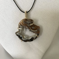 Black, Brown & White Oco Geode Slice, Prong Wire Wrapped Pendent, Black Cord Necklace