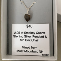Smokey Quartz 2.05 ct Sterling Silver Necklace