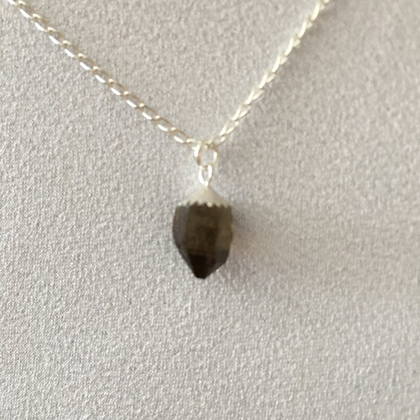 "Smokey Quartz 3.05 carat, Sterling Silver Pendent and Sterling Silver 18"" Box Chain Necklace"