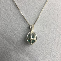 Green Tourmaline 1.9 ct Sterling Silver Basket Necklace