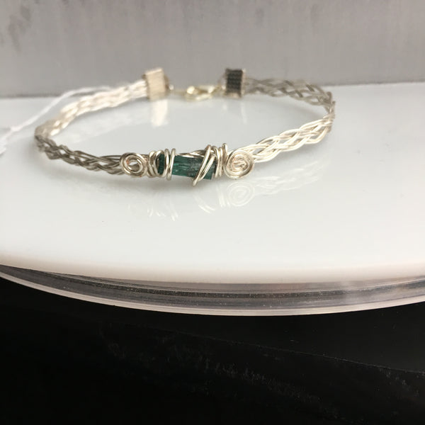 Green Tourmaline 1.05 carat Wire Wrapped Braided Bracelet