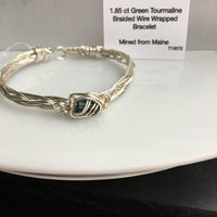 Green Tourmaline 1.85 ct Wire Wrapped Bracelet