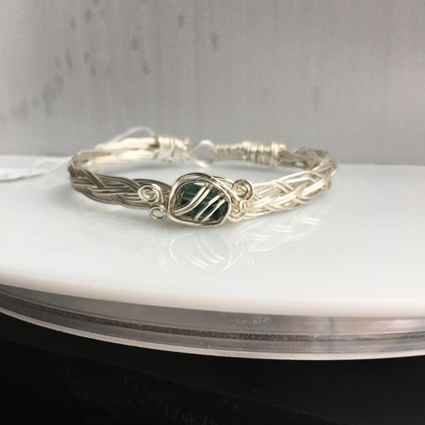 Green Tourmaline 1.85 carat wire wrapped braided bracelet