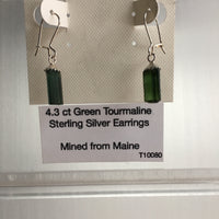 Green Tourmaline 4.3 ct Sterling Silver Earrings