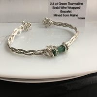 Green Tourmaline 2.8 ct Wire Wrapped Bracelet