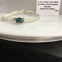 Green Tourmaline 2.70 ct Wire Wrapped Bracelet