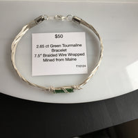 Green Tourmaline 2.65 ct Wire Wrapped Bracelet