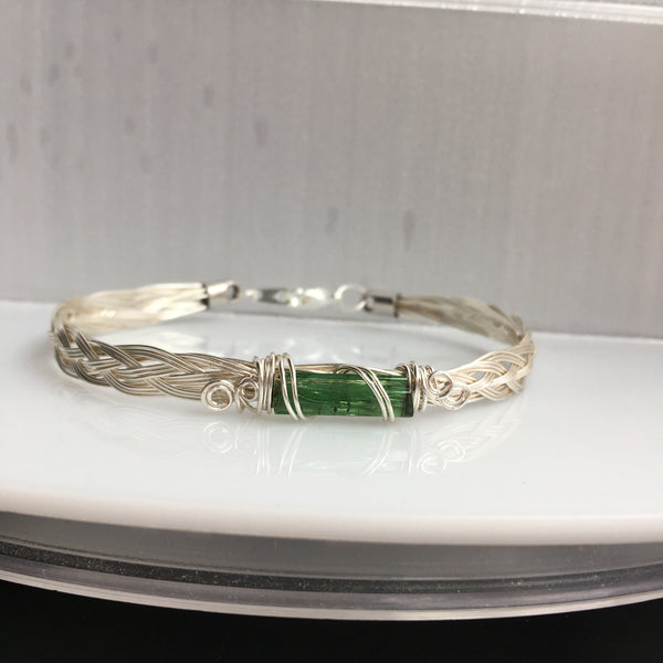 Green Tourmaline 2.65 carat Wire Wrapped Braided Bracelet