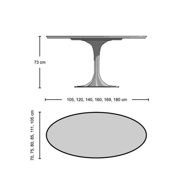 Oval Tulip Dining Table - Marble Top