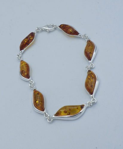 Teardrop Sterling Silver Baltic Amber Bracelet | Earthfound.co.uk