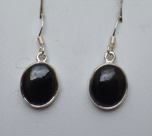 Oval Whitby Jet Silver Drop Earrings | Earthfound.co.uk