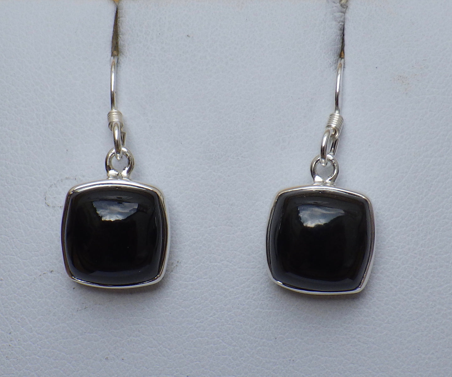 Square Cut Whitby Jet Silver Drop Earrings | Earthfound.co.uk