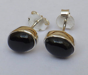 Oval Whitby Jet Silver Stud Earrings | Earthfound.co.uk