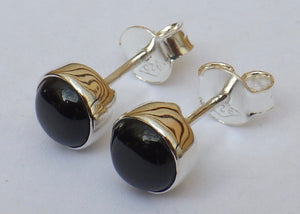 Round Whitby Jet Stud Earrings | Earthfound.co.uk
