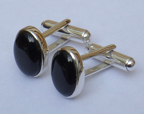 Mens Whitby Jet Silver Cuff Links | Earthfound.co.uk