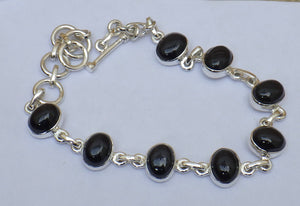 Whitby Jet Silver Bracelet | Earthfound.co.uk