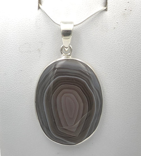 Oval Botswana Agate Silver Pendant | Earthfound.co.uk