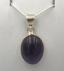 Oval Amethyst Silver Pendant |Earthfound.co.uk