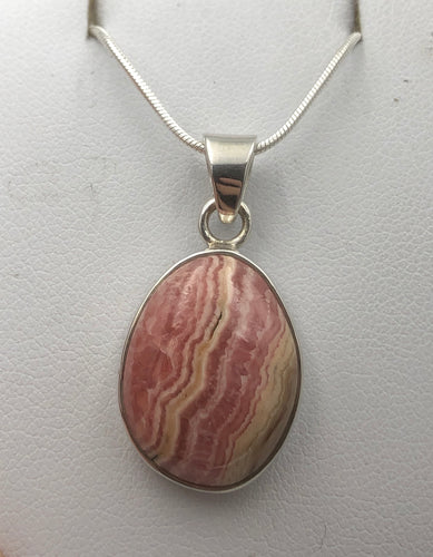 Oval Rhodochrosite Silver Pendant |Earthfound.co.uk