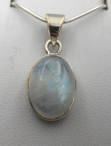Oval Blue Moonstone Silver Pendant | Earthfound.co.uk
