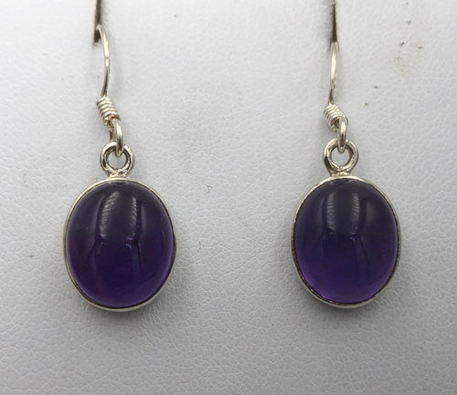 Oval Amethyst Silver Drop Earrings |Earthfound.co.uk