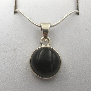 Circular Whitby Jet Silver Pendant | Earthfound.co.uk