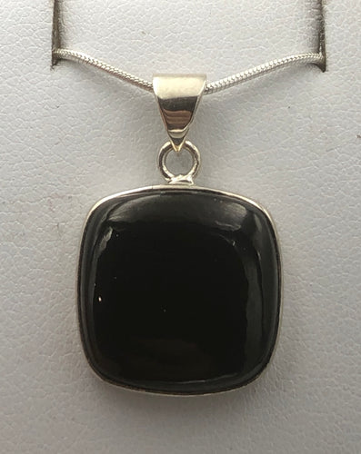 Square Whitby Jet Silver Pendant | Earthfound.co.uk