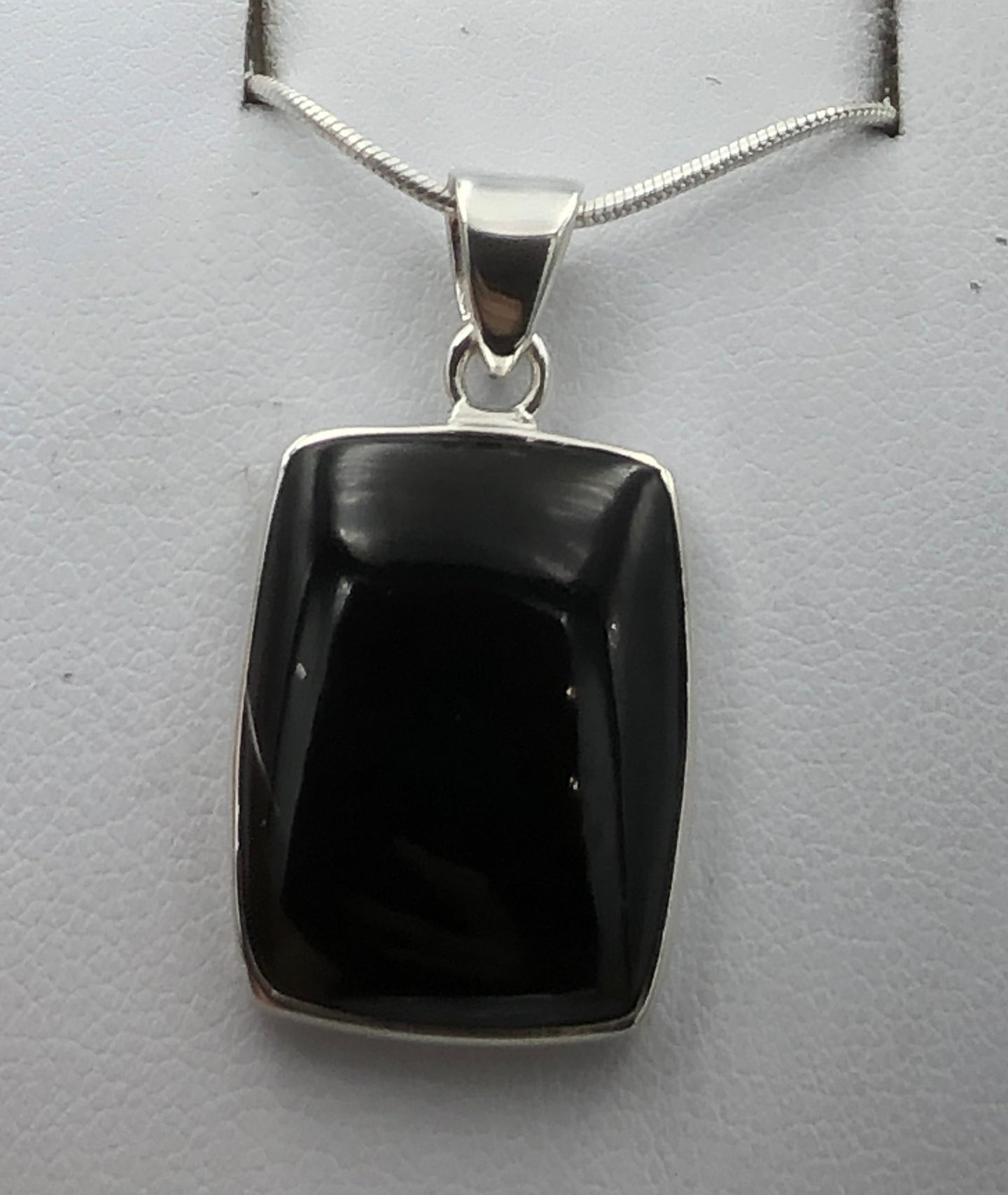 Rectangular Whitby Jet Silver Pendant |Earthfound.co.uk