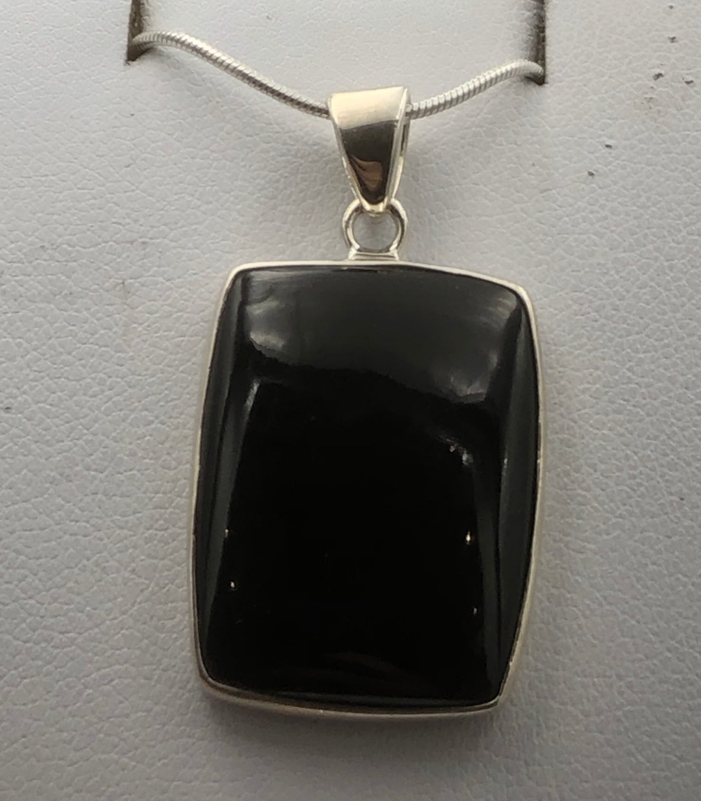 Rectangular Whitby Jet Silver Pendant | Earthfound.co.uk