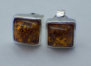 Square Cut Baltic Amber Silver Stud Earrings | Earthfound.co.uk