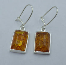 Load image into Gallery viewer, Rectangular Baltic Amber Silver Drop Earrings | Earthfound.co.uk