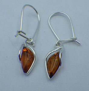 Teardrop Baltic Amber Silver Drop Earrings | Earthfound.co.uk