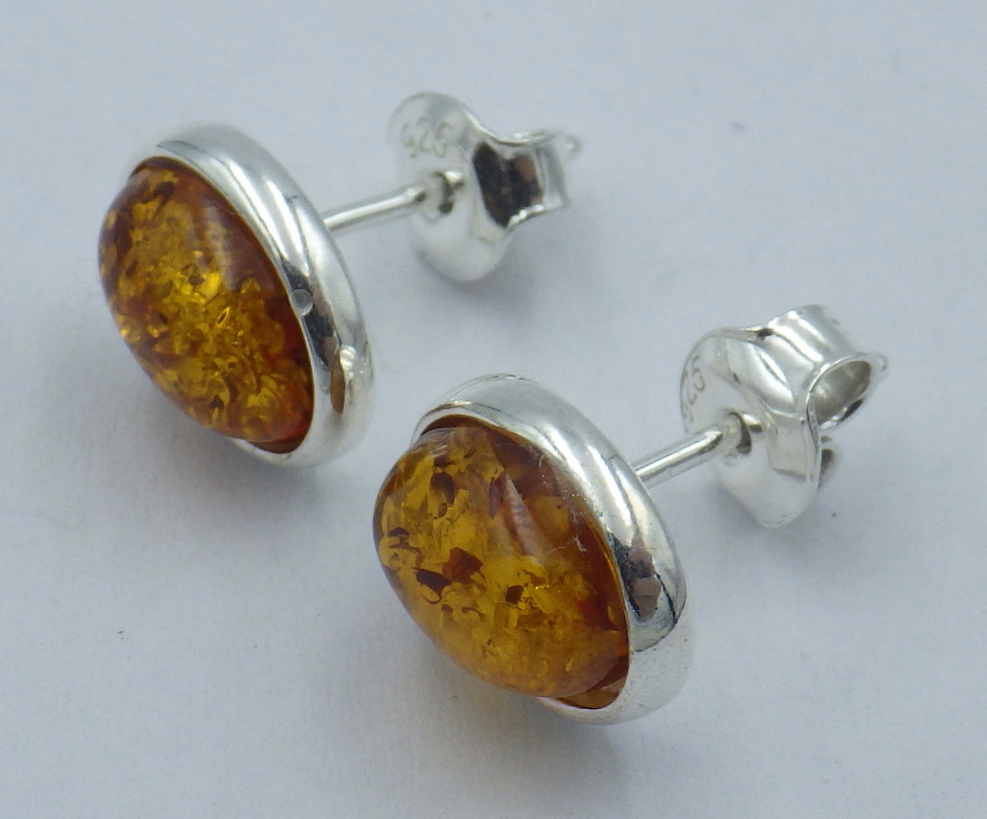 Oval Baltic Amber Silver Stud Earrings | Earthfound.co.uk