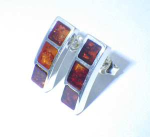 Contemporary Baltic Amber Silver Stud Earrings | Earthfound.co.uk