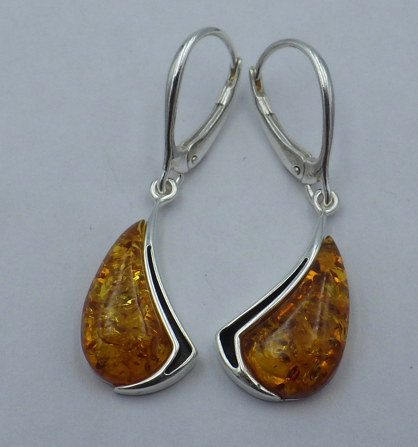 Shaped Baltic Amber Silver Drop Earrings | Earthfound.co.uk