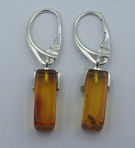 Rectangular Baltic Amber Silver Drop Earrings | Earthfound.co.uk