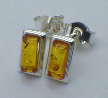 Load image into Gallery viewer, Rectangular Baltic Amber Silver Stud Earrings | Earthfound.co.uk