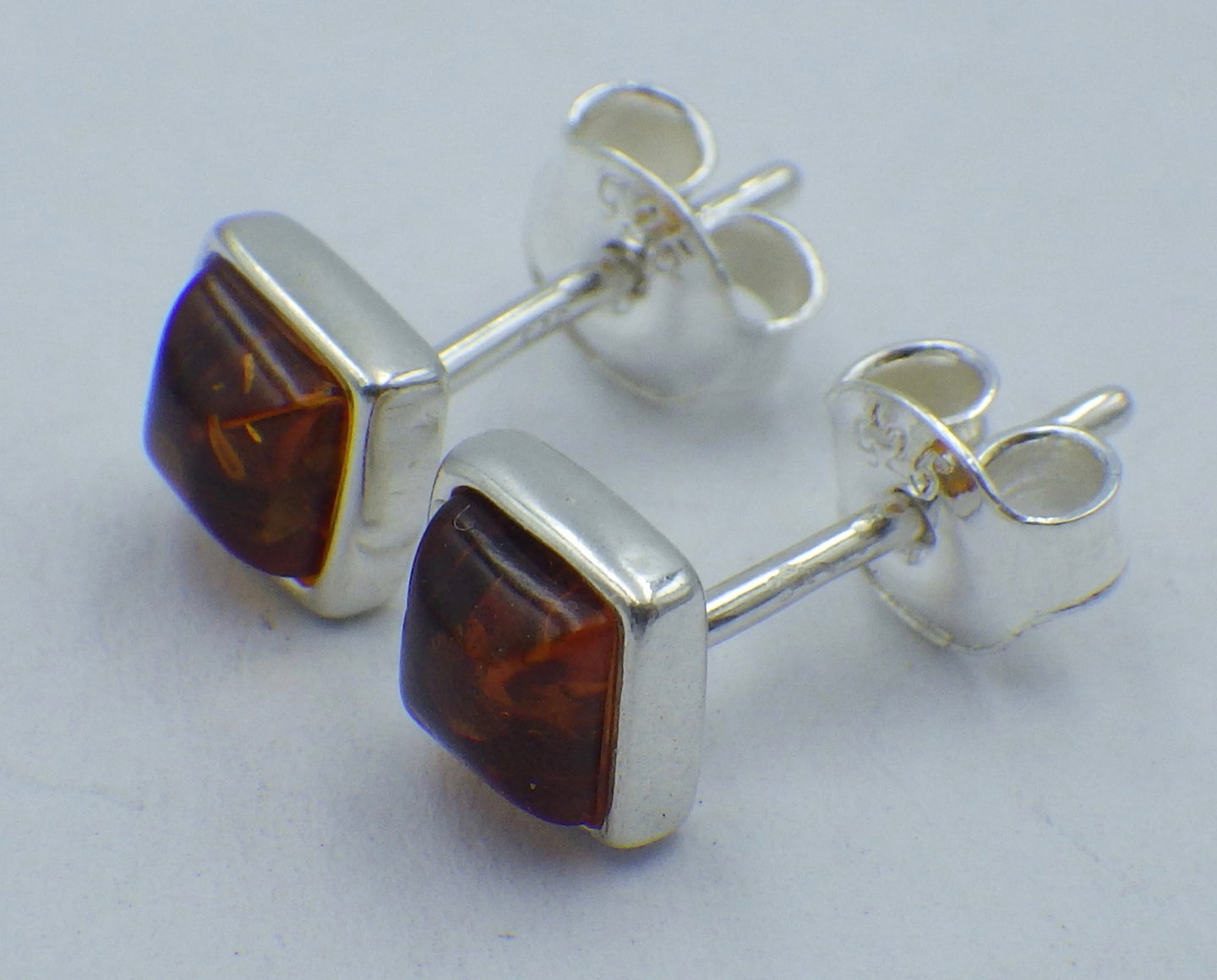 Square Baltic Amber Silver Stud Earrings | Earthfound.co.uk
