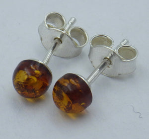 Round Baltic Amber Silver Stud Earrings | Earthfound.co.uk