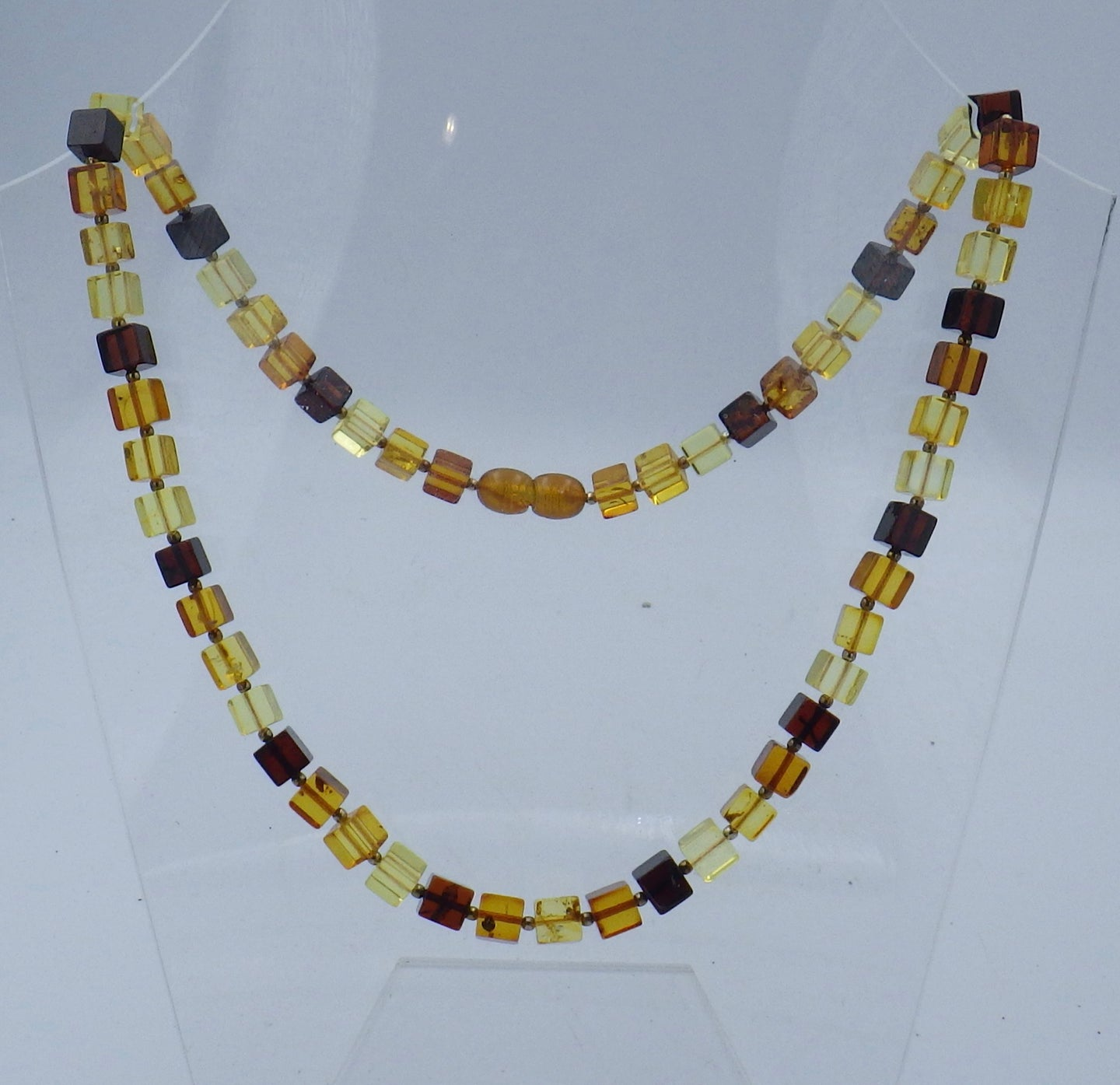 Three Colour Cube Baltic Amber Necklace | Earthfound.co.uk