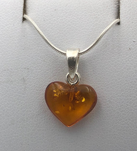 Heart Shaped Baltic Amber Silver Pendant | Earthfound.co.uk