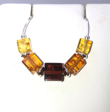 Load image into Gallery viewer, Three Colour Cube Baltic Amber Silver Necklace | Earthfound.co.uk