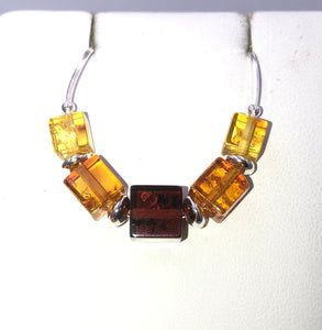 Three Colour Cube Baltic Amber Silver Necklace | Earthfound.co.uk