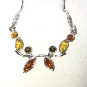 Three Colour Baltic Amber Silver Necklace | Earthfound.co.uk