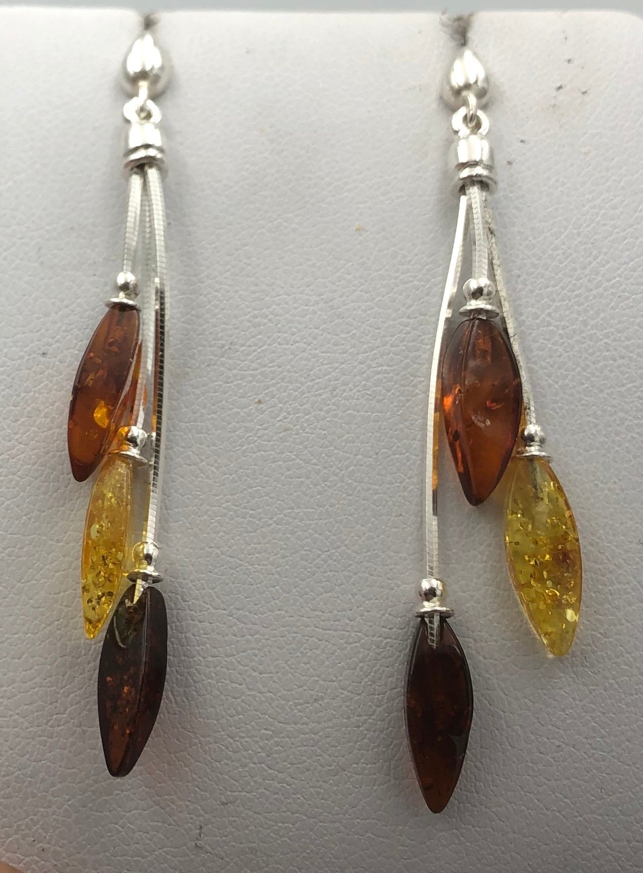 Three Colour Teardrop Baltic Amber Silver Drop Earrings | Earthfound.co.uk