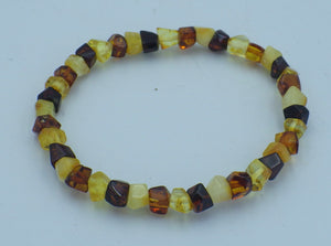 Cubic Shaped, Three Colour Baltic Amber Bracelet | Earthfound.co.uk